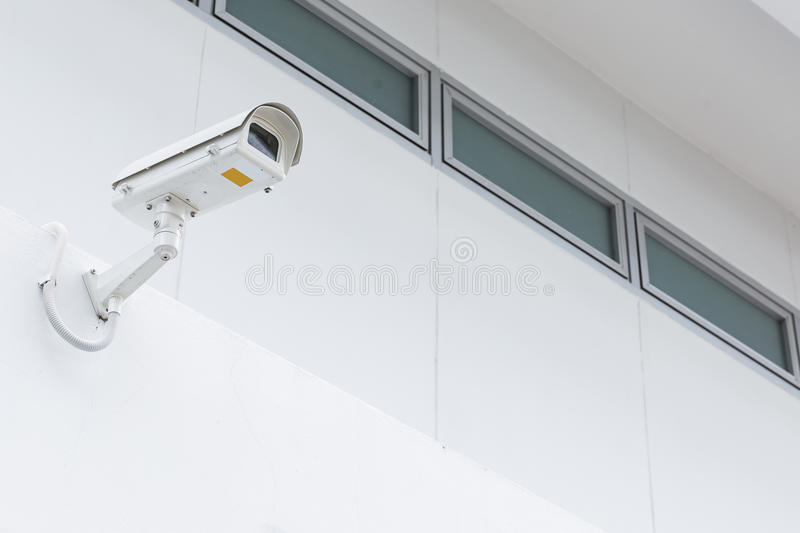 CCTV camera security. CCTV camera on white building for security royalty free stock photography