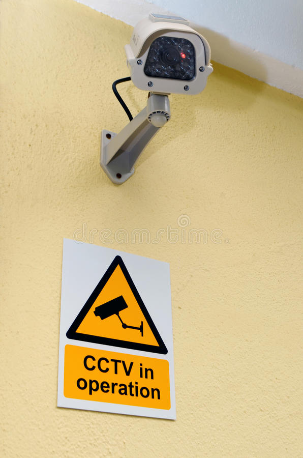 Download CCTV Camera and sign stock photo. Image of inspection - 33212342