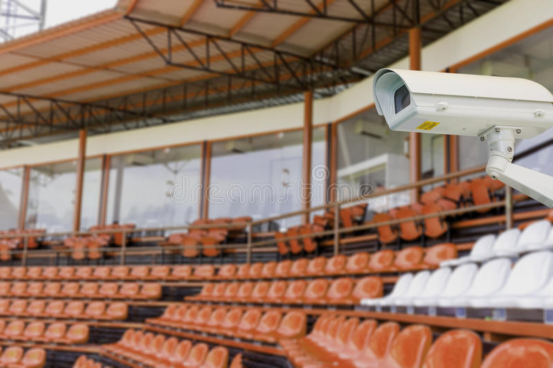 CCTV camera in sport stadium. For security royalty free stock photography