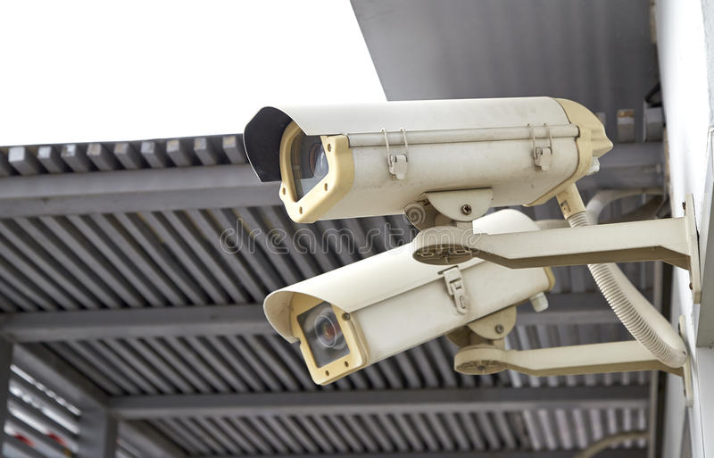 CCTV camera. Or surveillance installed on Wall stock image