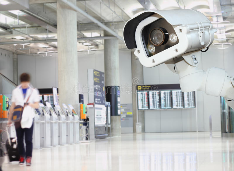 CCTV camera or surveillance operating in air port. CCTV camera or surveillance operating in air port stock image