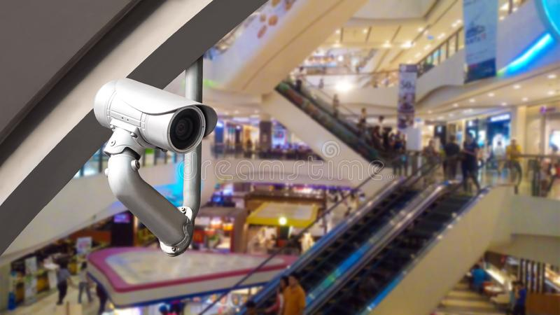 CCTV camera or surveillance system on shopping mall. CCTV camera or surveillance system on indoor shopping mall stock photography