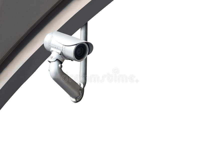 CCTV camera or surveillance system on white. Background royalty free stock photo