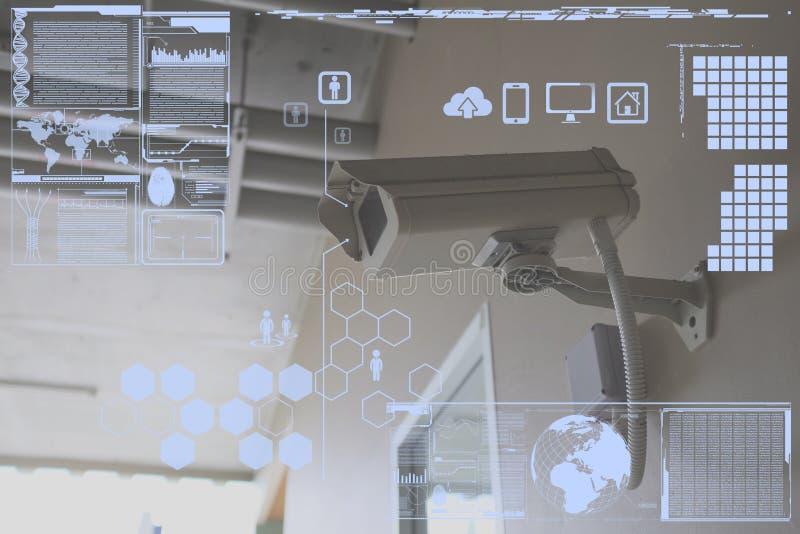 CCTV Camera or surveillance technology on screen display. CCTV Camera or surveillance operating with technology on screen display stock image