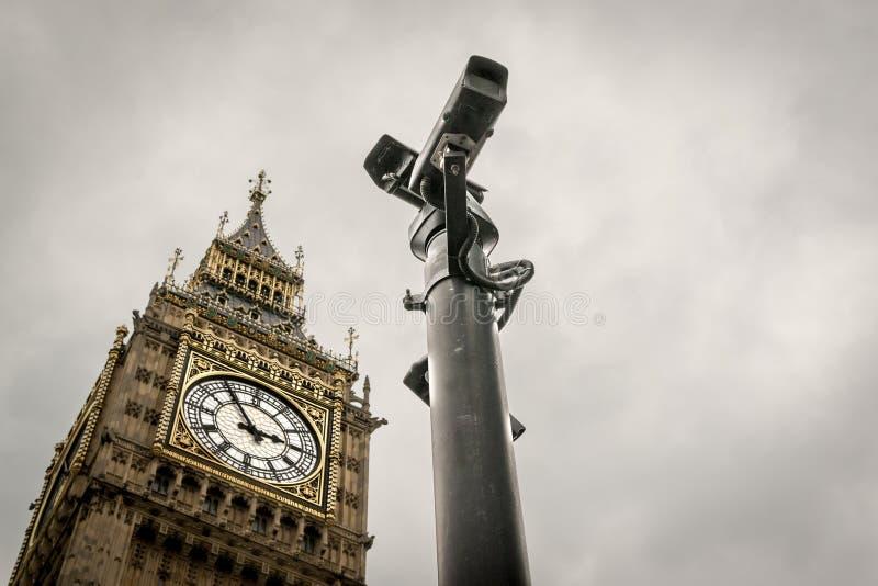 CCTV Cameras and Big Ben London Landmark. CCTV cameras dominate a view of Big Ben historical London Landmark with no people present royalty free stock image