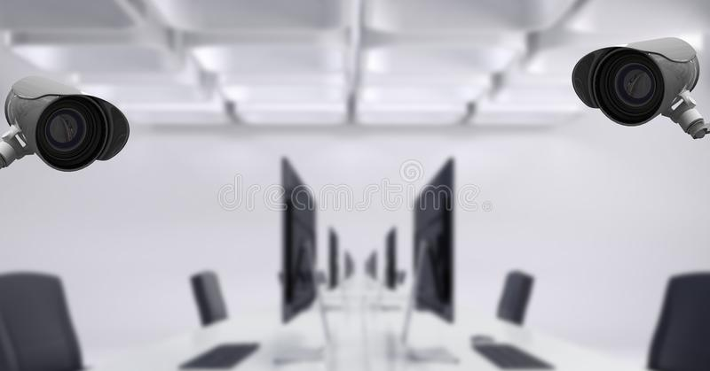 CCTV cameras in conference room with computers and chairs. Digital composite of CCTV cameras in conference room with computers and chairs stock images