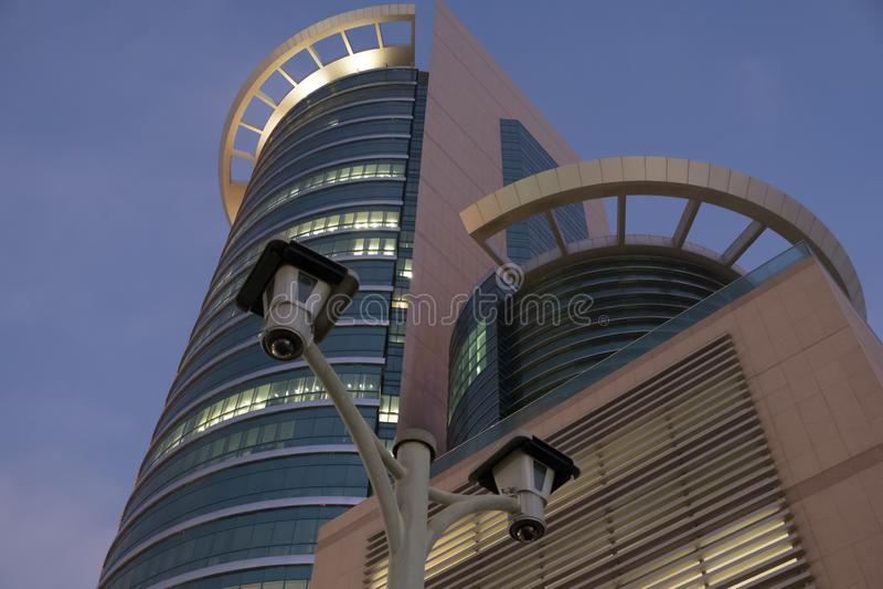 CCTV Cameras at Etisalat Headoffice Building Abu Dhabi stock photos