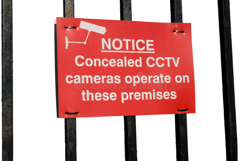 Cctv cameras in operation sign on white background. Concealed cctv cameras in operation sign on white royalty free stock images