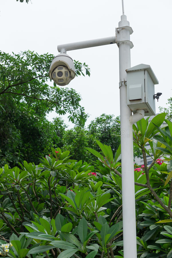 CCTV cameras. In outdoor space stock photography