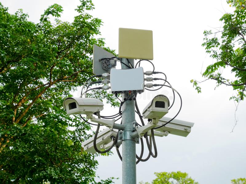 CCTV cameras in the park. For security stock photography