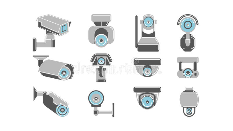 CCTV cameras set. CCTV cameras set on white background. Concept of safety, guardiance, security and observing royalty free illustration