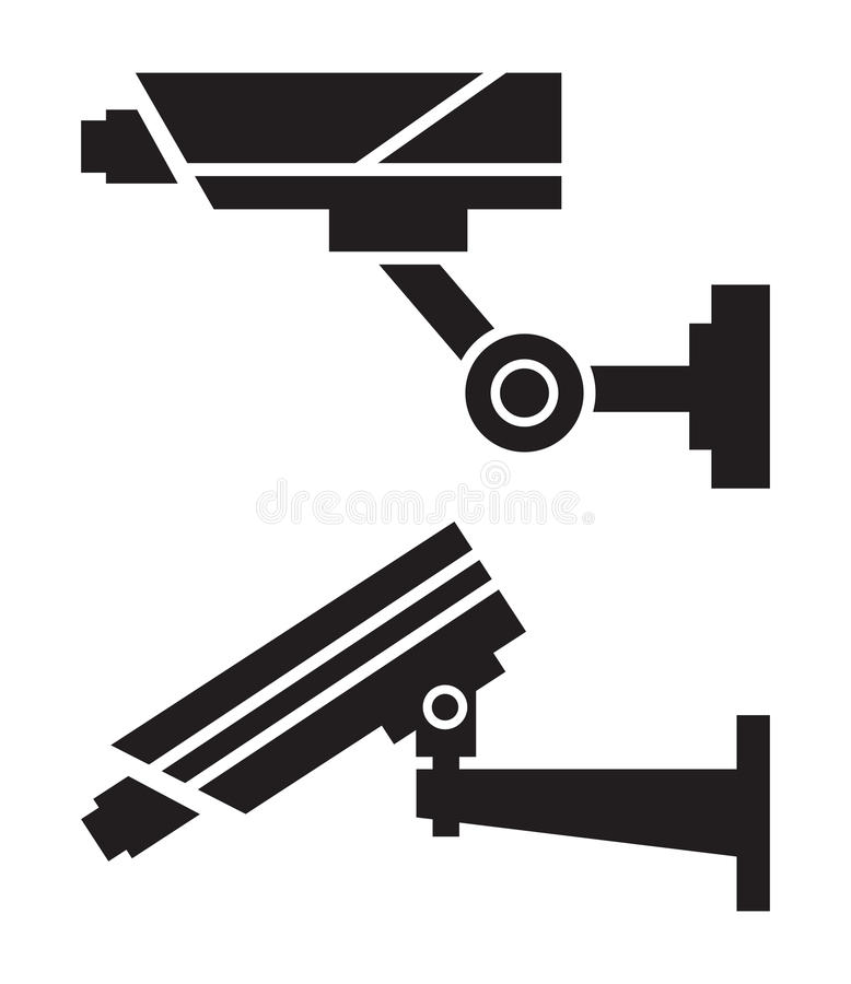 CCTV cameras. Silhouettes of CCTV cameras on white background stock illustration