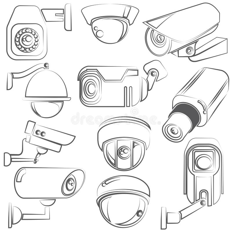 CCTV cameras. Sketch CCTV cameras icons set royalty free illustration
