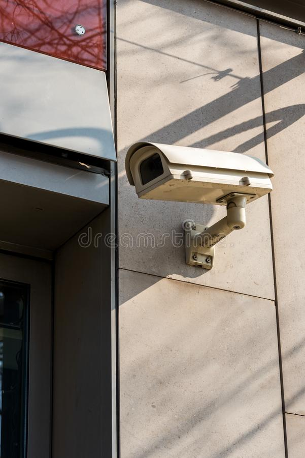 CCTV Cameras on the wall mounted. CCTV Cameras on the wall on te building stock photo