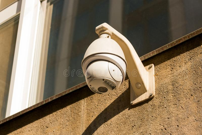 CCTV Cameras on the wall mounted. CCTV Cameras on the wall on te building stock images