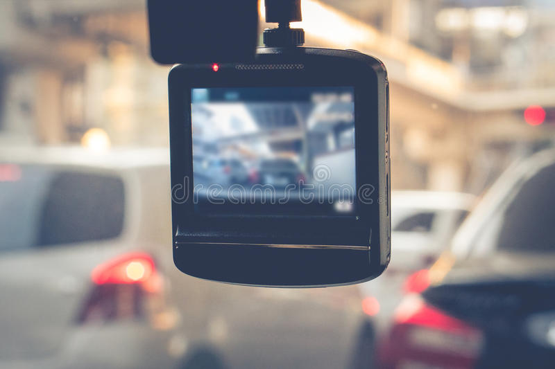 CCTV car camera for safety on the road accident. royalty free stock images