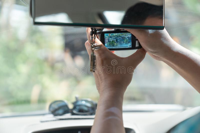 CCTV car camera for safety on the road accident stock photo