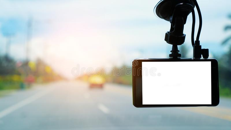 CCTV car camera in a car for safety on the road accident. Technology concept. Car camera. Video recorder. Driving, safety on road. royalty free stock photos