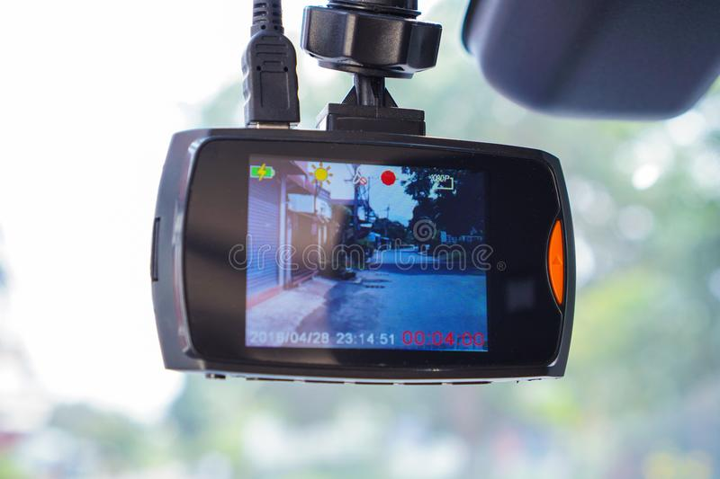CCTV car camera for safety on the road. Camera recoder stock photos