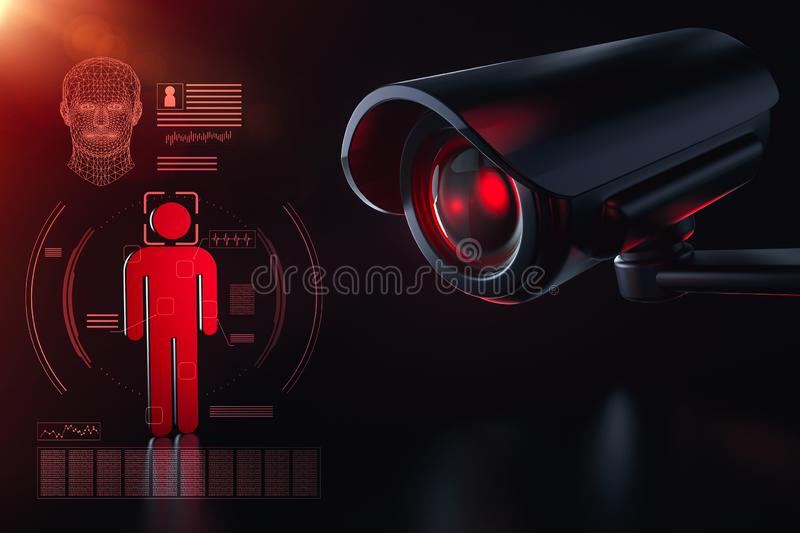 Cctv is checking information about citizen in surveillance security system concept. Big brother is watching you concept. 3D royalty free illustration