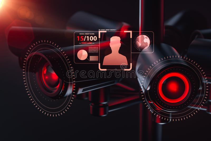 Cctv is checking information about citizen in surveillance security system, social credit system concept. 3D rendering. Cctv is checking information about stock illustration