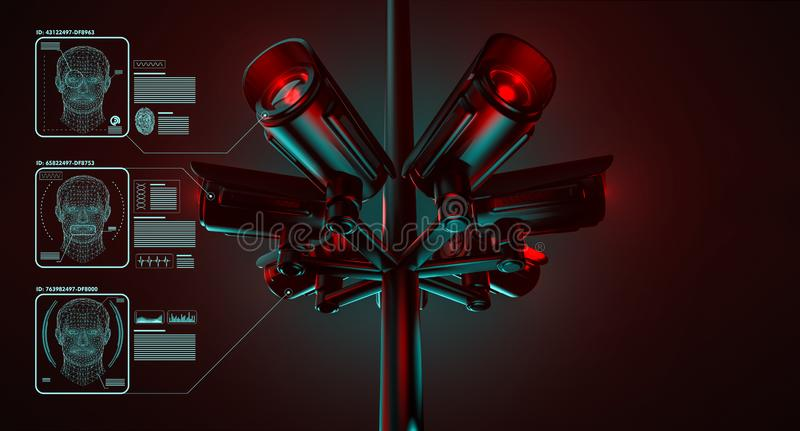 Cctv is checking information about citizens in surveillance security system. Big brother is watching you concept. 3D rendering. Cctv is checking information royalty free illustration