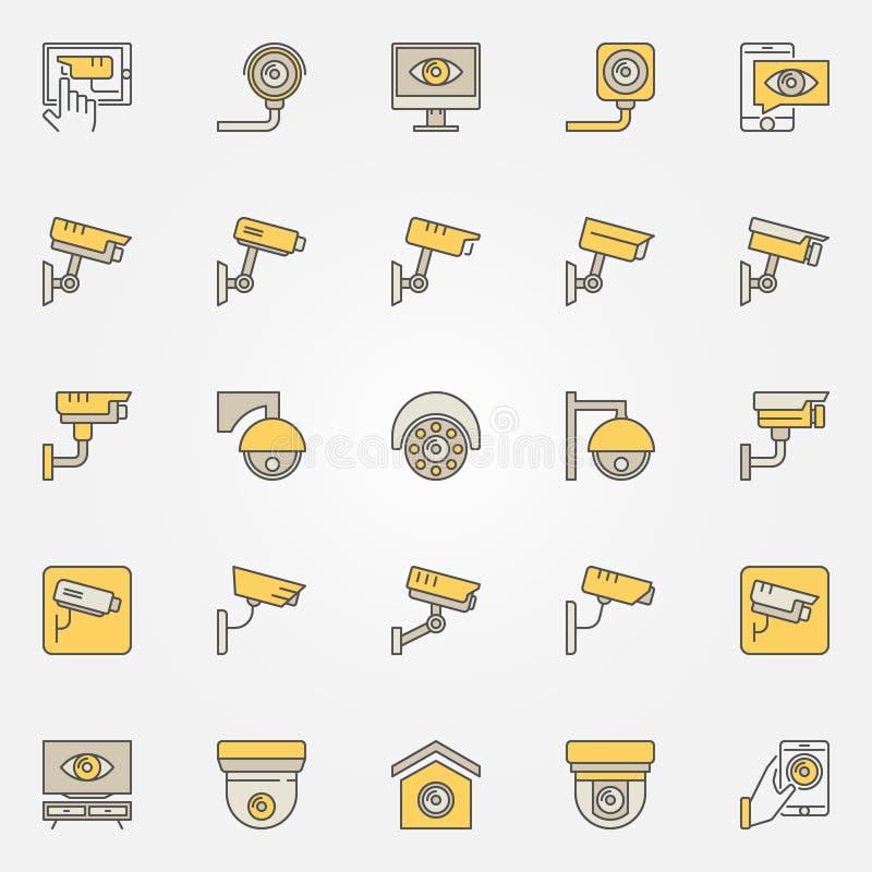CCTV Colored Icons Set. Vector Camera Creative Signs Stock Vector ...