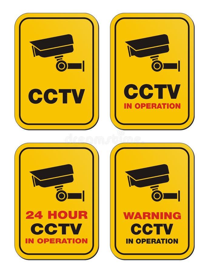 24 CCTV da hora na operação - sinais amarelos ilustração do vetor