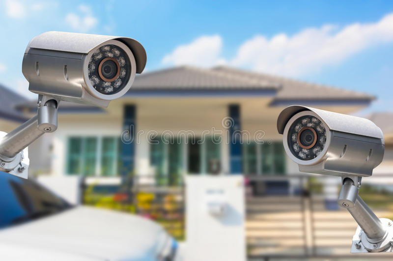 CCTV Home camera security operating at house. CCTV Home camera security operating at house stock photo