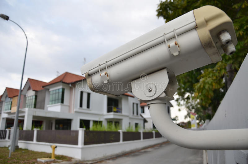 CCTV Home camera security. Operating at housing estate royalty free stock photo