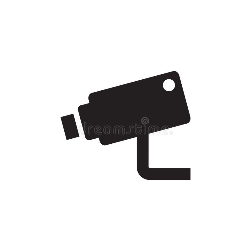 CCTV - icono negro en el ejemplo blanco del vector del fondo para la página web, aplicación móvil, presentación, infographic segu ilustración del vector