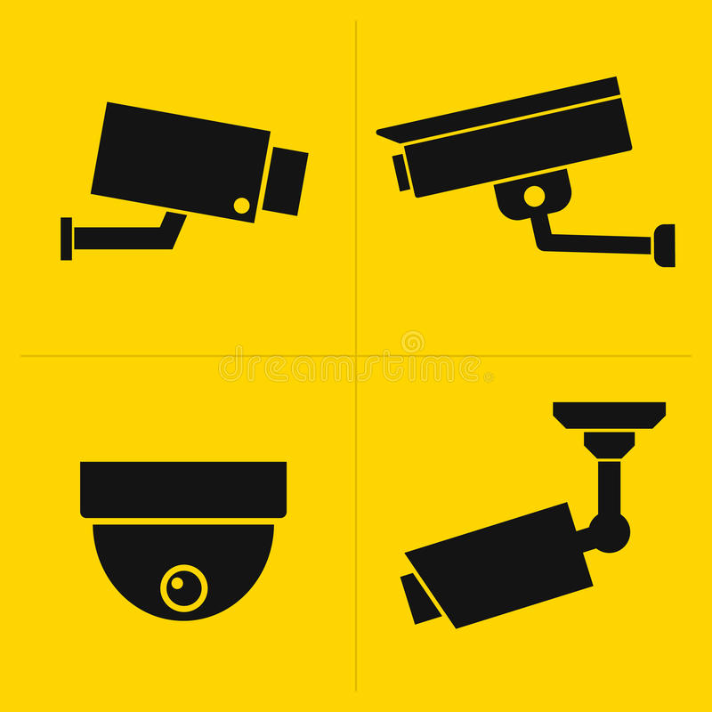 CCTV icons set. CCTV black icons set on yellow background stock illustration