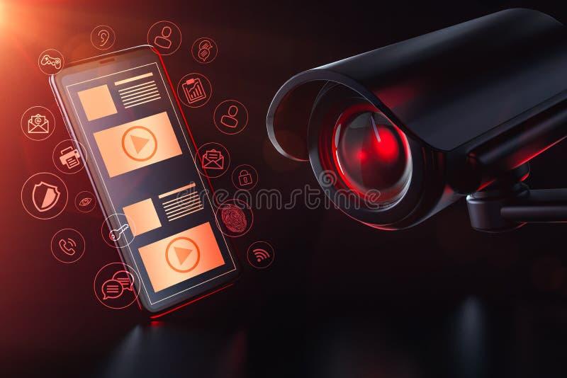 Cctv invigilates apps och mobil datatrafik på en smartphone Avskildhets-, bevakning- och dataspåringsbegrepp framförande 3d vektor illustrationer