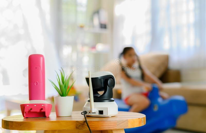 CCTV , ip camera Security monitoring  playing room for kids.  royalty free stock photography