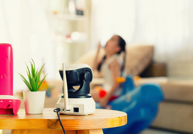 CCTV , ip camera Security monitoring  playing room for kids stock photos