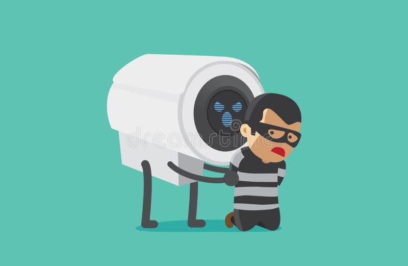 CCTV kamera aresztujący rabuś ilustracji
