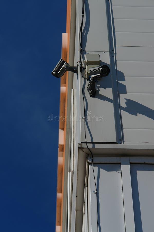 CCTV kamera bezpieczeństwa na ściennym outside obrazy stock