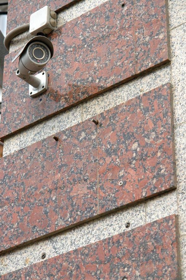 CCTV kamera bezpieczeństwa na ściennym outside fotografia stock