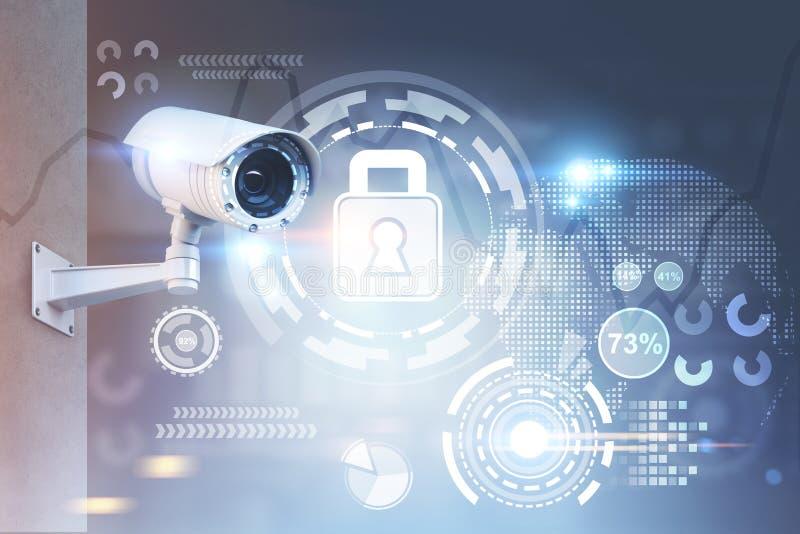 CCTV kamera, ochrona HUD fotografia stock