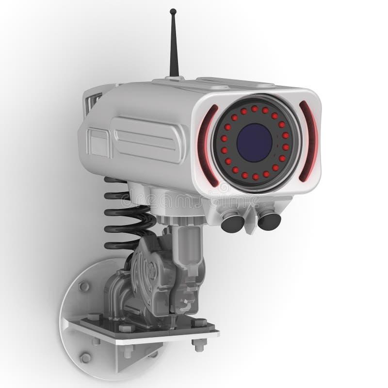 Cctv-kamera på väggen royaltyfri illustrationer