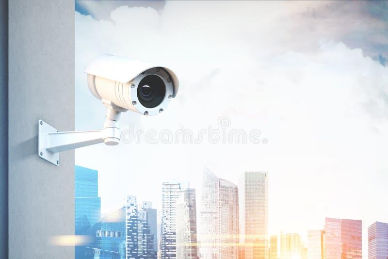 Cctv-kamera, skyskrapor royaltyfri illustrationer