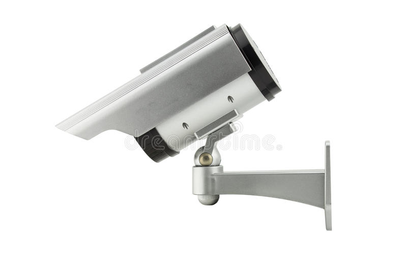 Cctv-kamera som isoleras på vit bakgrund royaltyfri foto