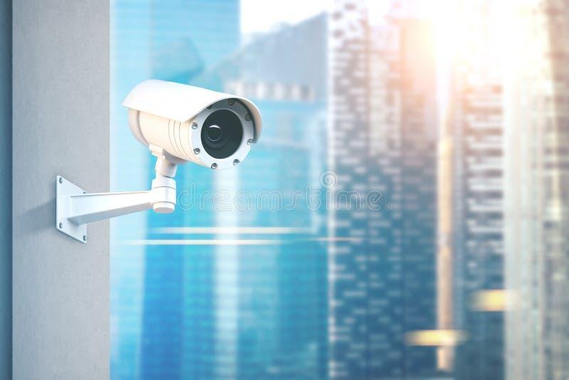 Cctv-kamera, suddig stad royaltyfri illustrationer
