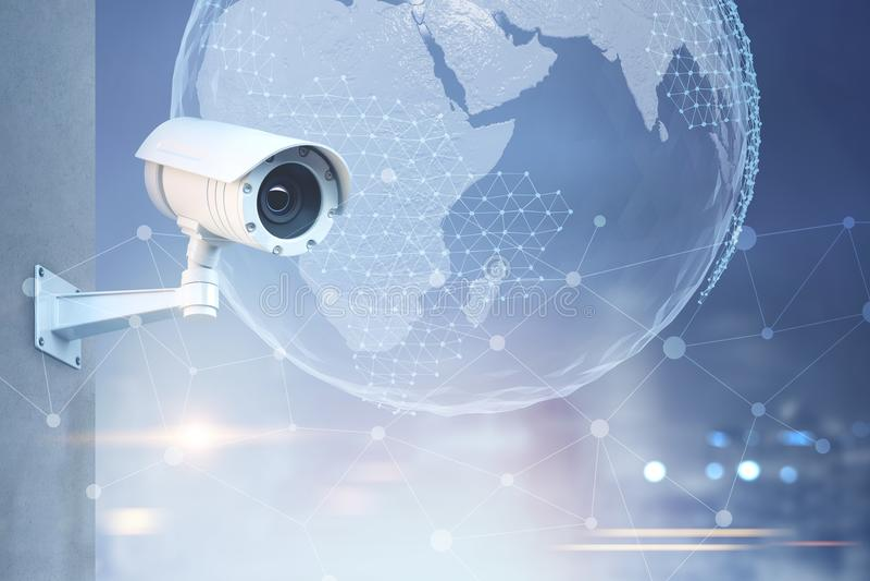 CCTV kamera, ziemia w miasta niebie ilustracja wektor