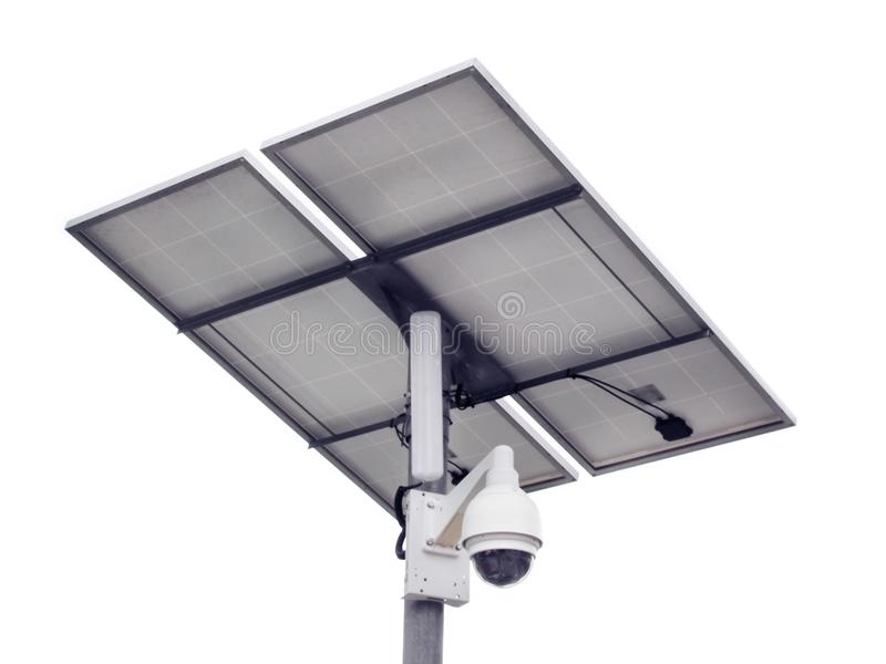 CCTV kamery ochrona z panelem słonecznym obraz stock