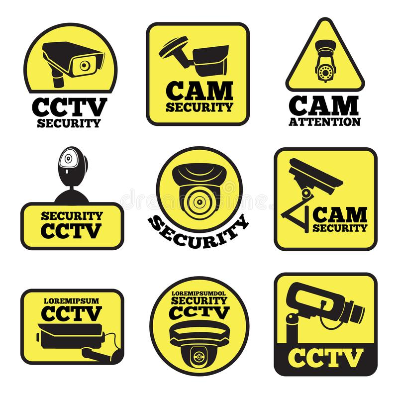 CCTV labels. Vector illustrations with security cameras symbols. Camera surveillance for security and safety protection stock illustration