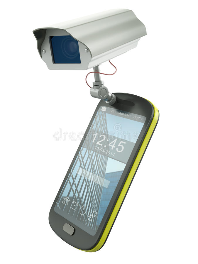 CCTV mobile. Mobile phone with CCTV camera - electronic devices as surveillance tools metaphor. 3D rendered illustration stock illustration