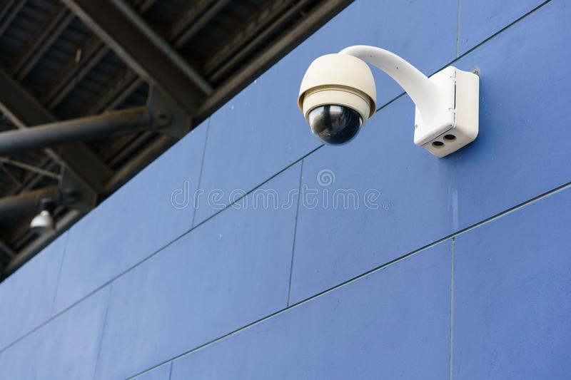 CCTV monitoring, security cameras at outdoor stadium stock photography