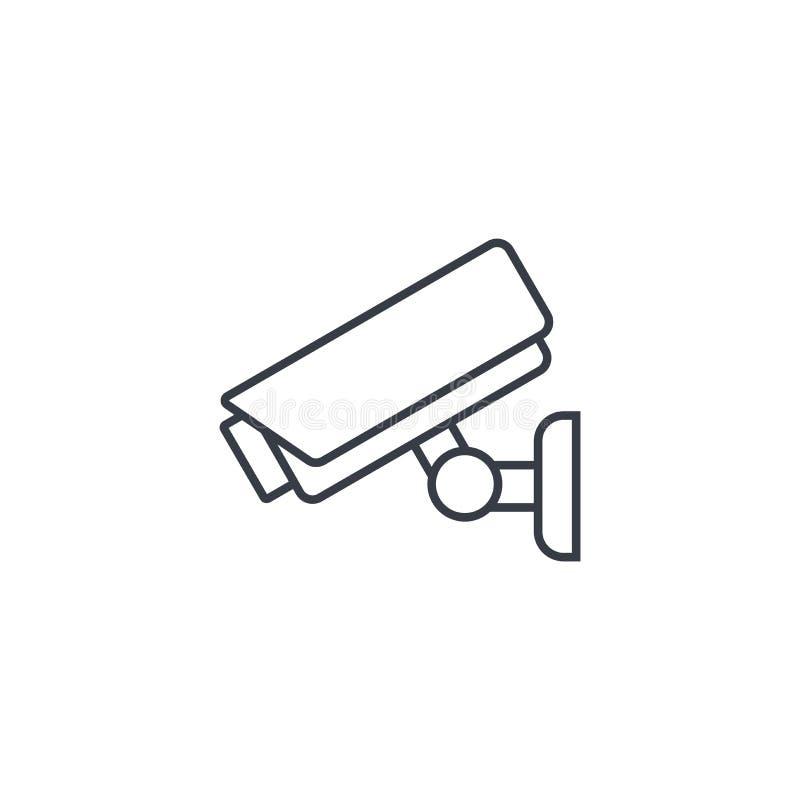 Cctv, ochrony cyfrowa kamera, ochrony cienka kreskowa ikona Liniowy wektorowy symbol ilustracja wektor