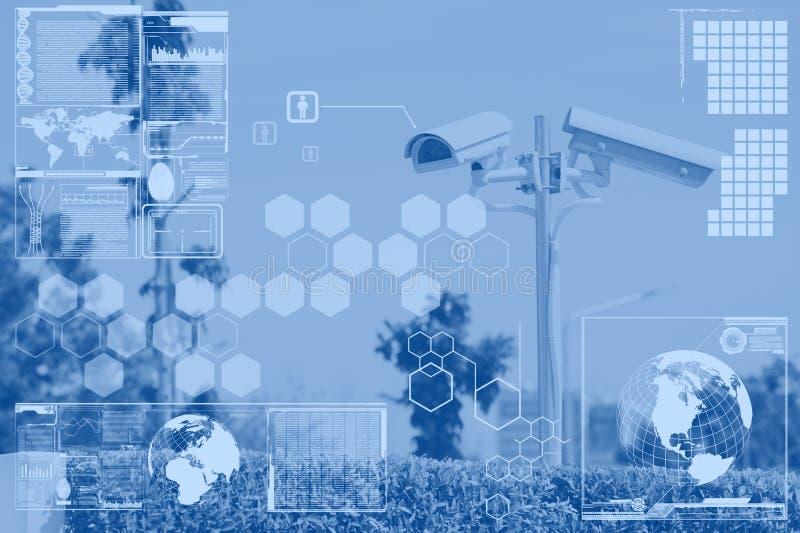 CCTV oder Überwachung mit Technologieschirmschicht lizenzfreie stockbilder
